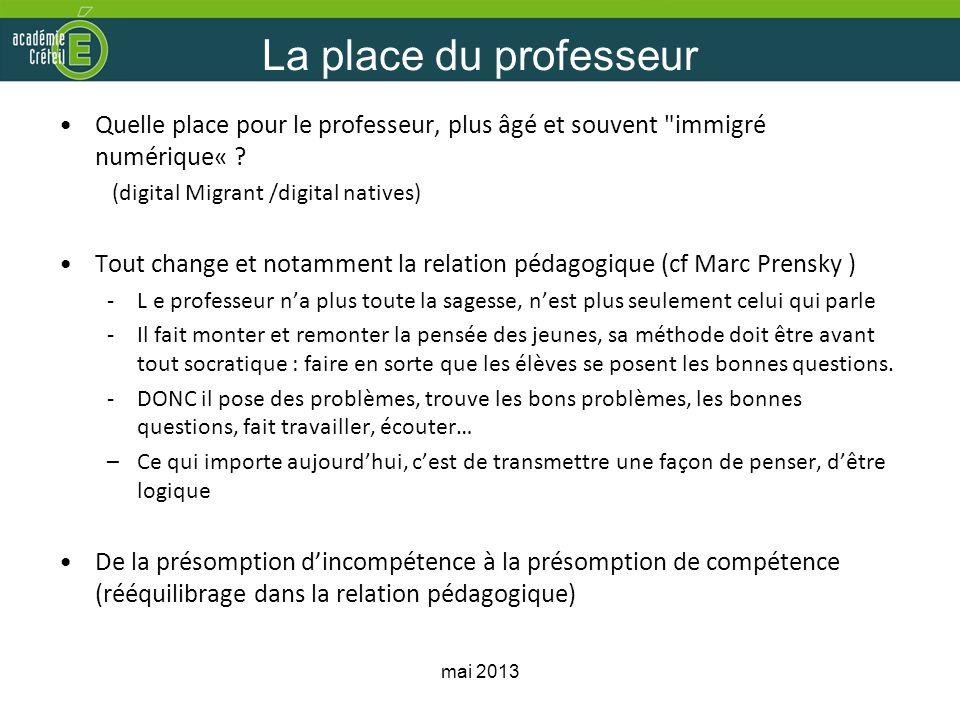 La place du professeur Quelle place pour le professeur, plus âgé et souvent immigré numérique« (digital Migrant /digital natives)