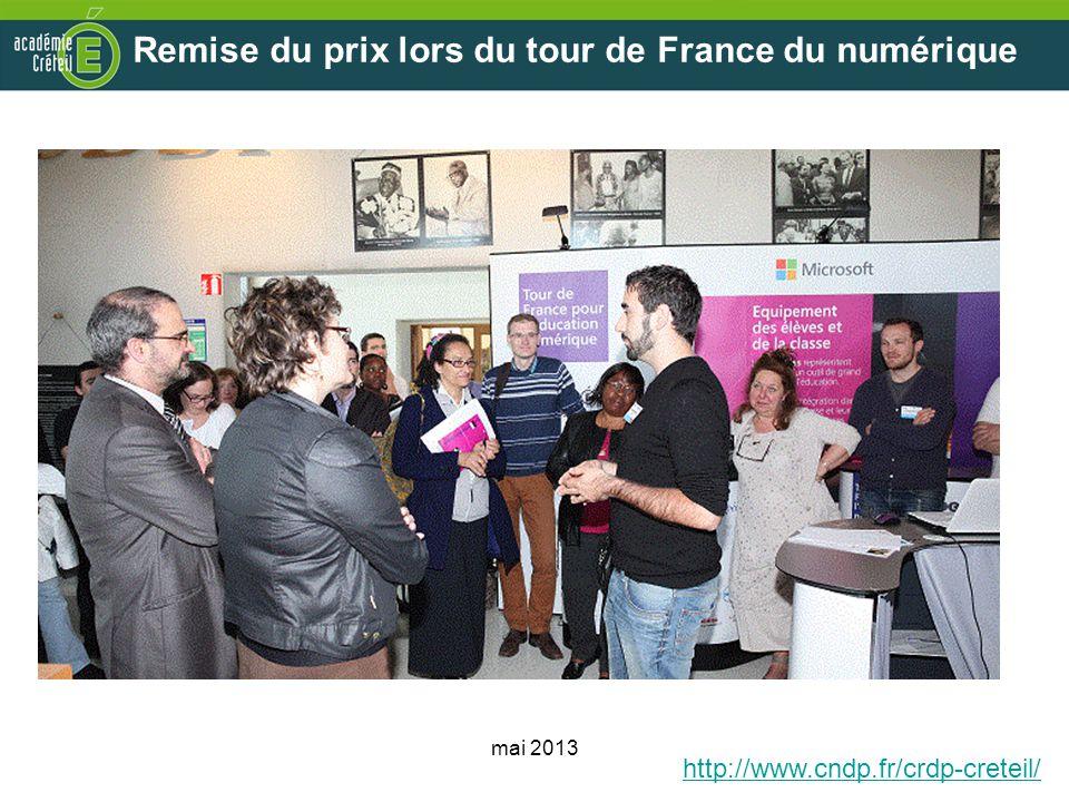Remise du prix lors du tour de France du numérique