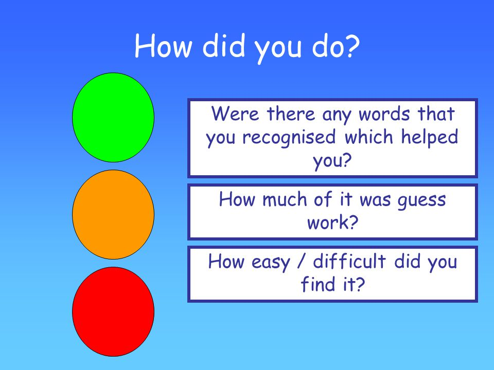 How did you do Were there any words that you recognised which helped you How much of it was guess work