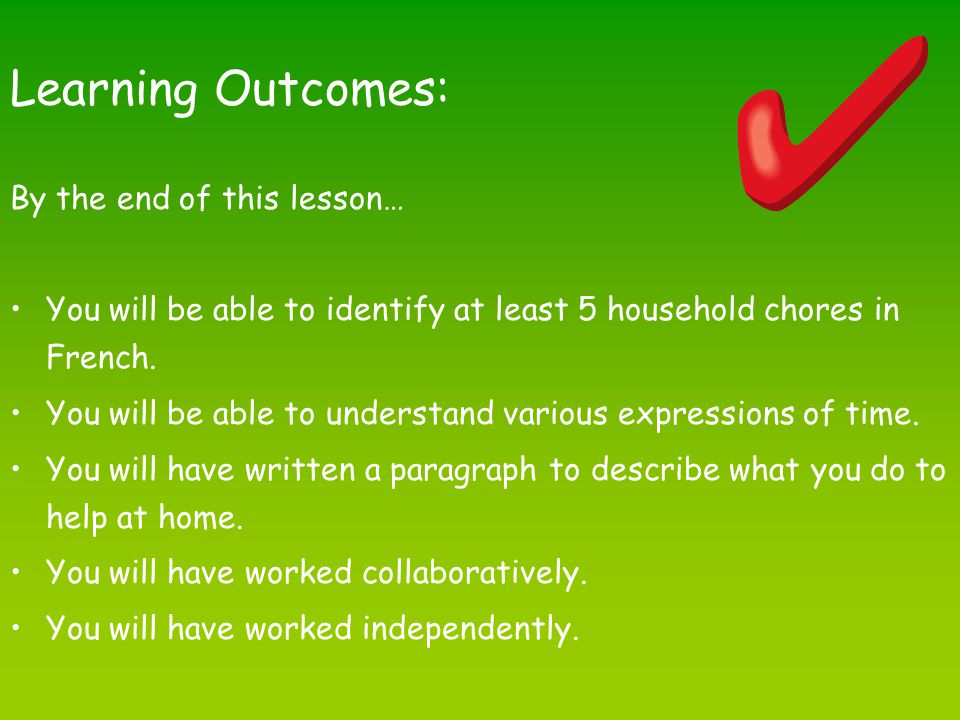 Learning Outcomes: By the end of this lesson…