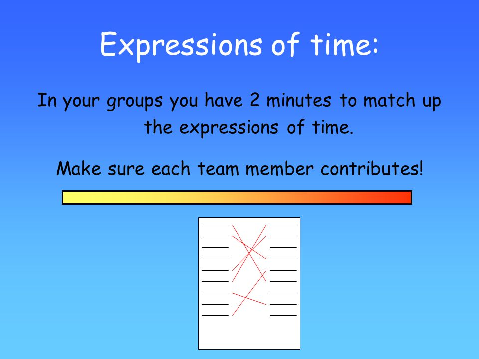 Expressions of time: In your groups you have 2 minutes to match up the expressions of time.