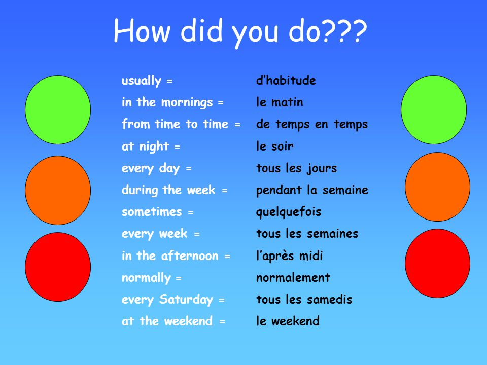 How did you do usually = in the mornings = from time to time =