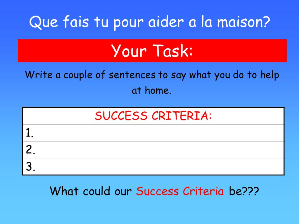 Les t ches m nag res learning objectives ppt video for Aider a la maison