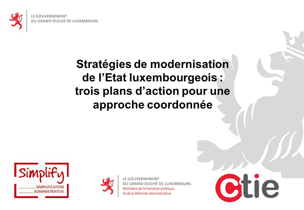 Stratégies de modernisation de l'Etat luxembourgeois : trois plans d'action pour une approche coordonnée