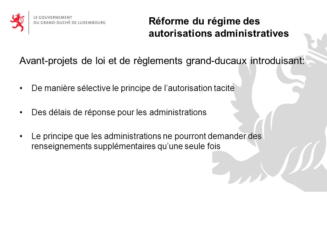 Réforme du régime des autorisations administratives