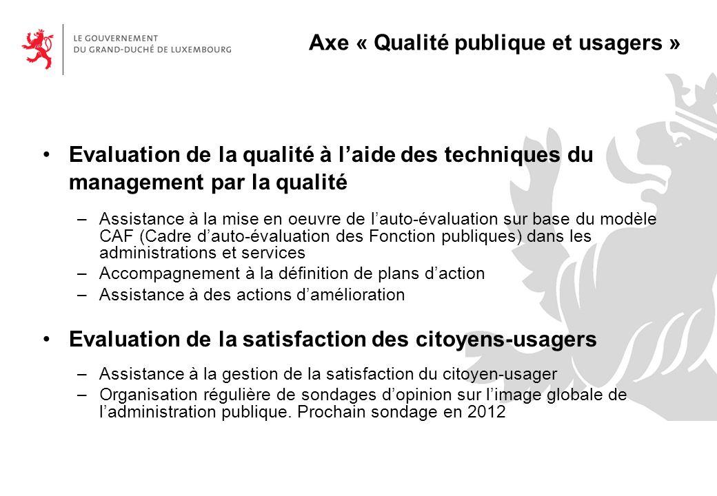Axe « Qualité publique et usagers »