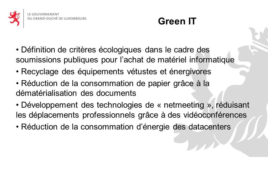 Green IT Définition de critères écologiques dans le cadre des soumissions publiques pour l'achat de matériel informatique.