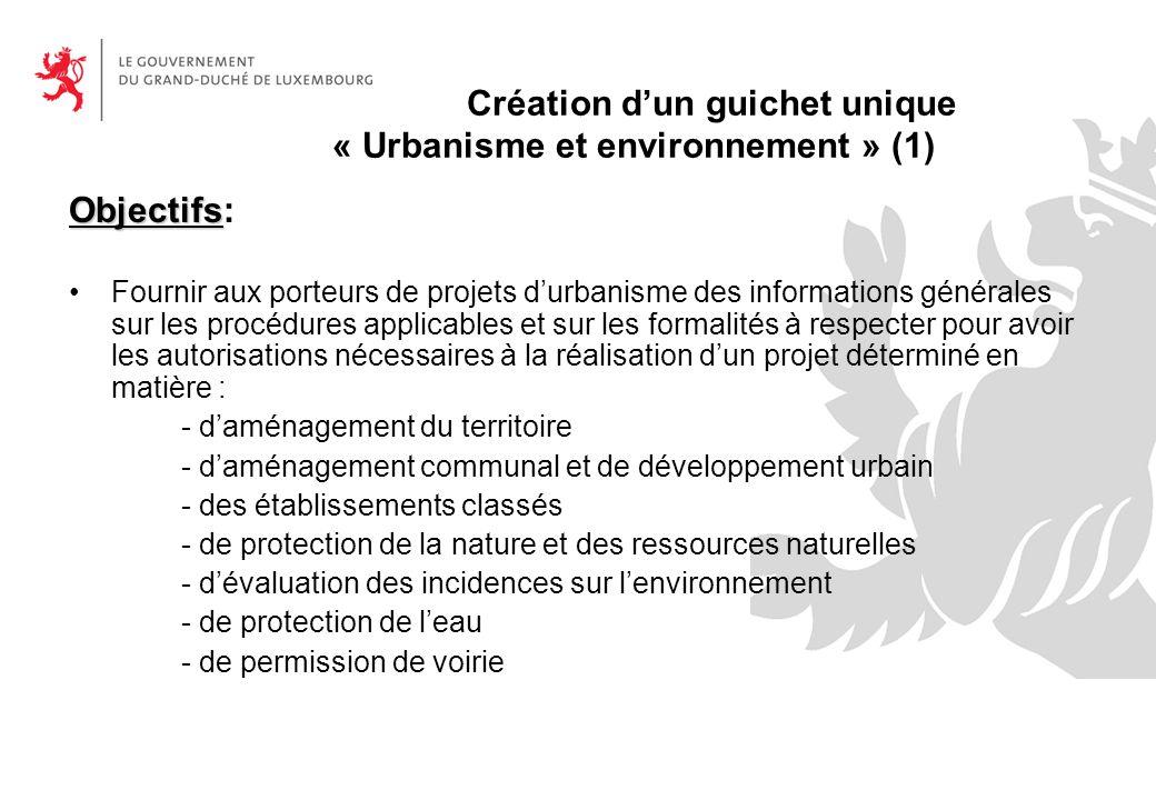 Création d'un guichet unique « Urbanisme et environnement » (1)