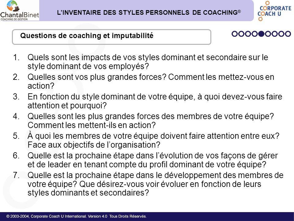 L'INVENTAIRE DES STYLES PERSONNELS DE COACHING®