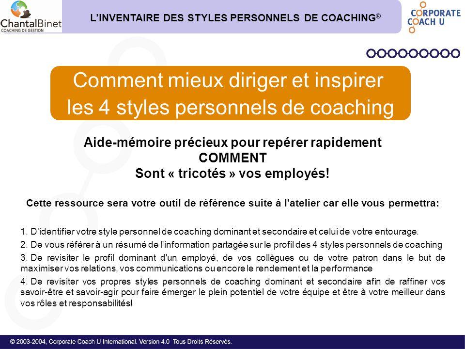 Comment mieux diriger et inspirer les 4 styles personnels de coaching
