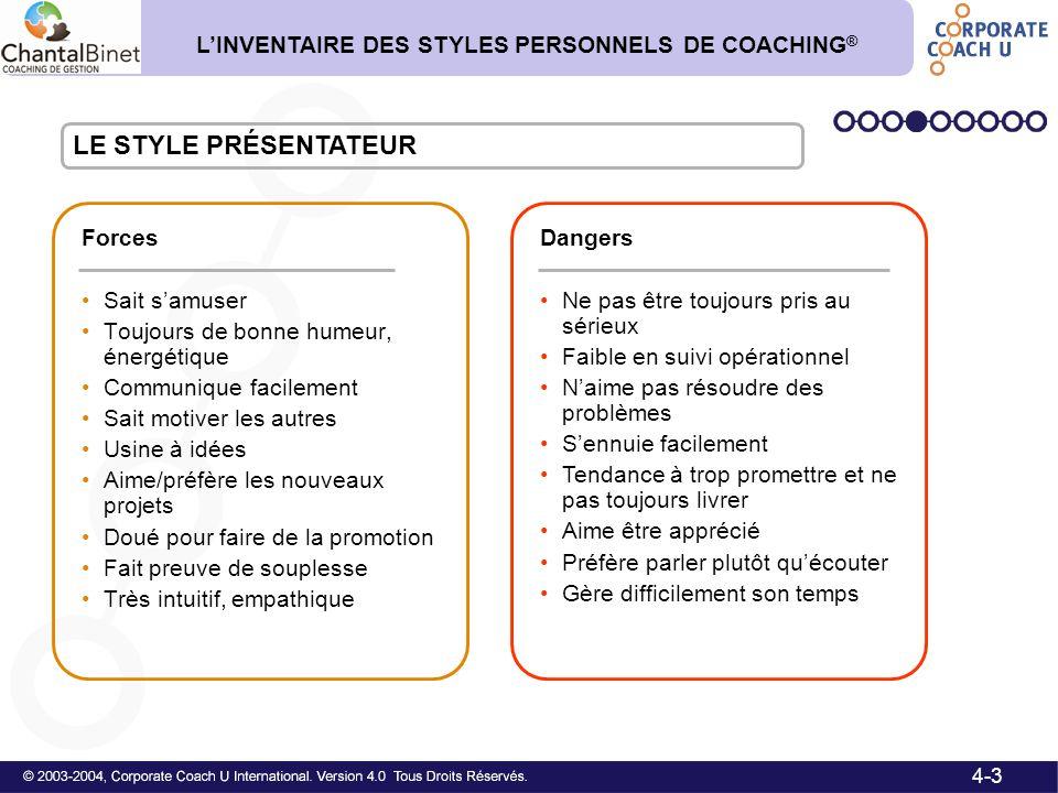 LE STYLE PRÉSENTATEUR L'INVENTAIRE DES STYLES PERSONNELS DE COACHING®