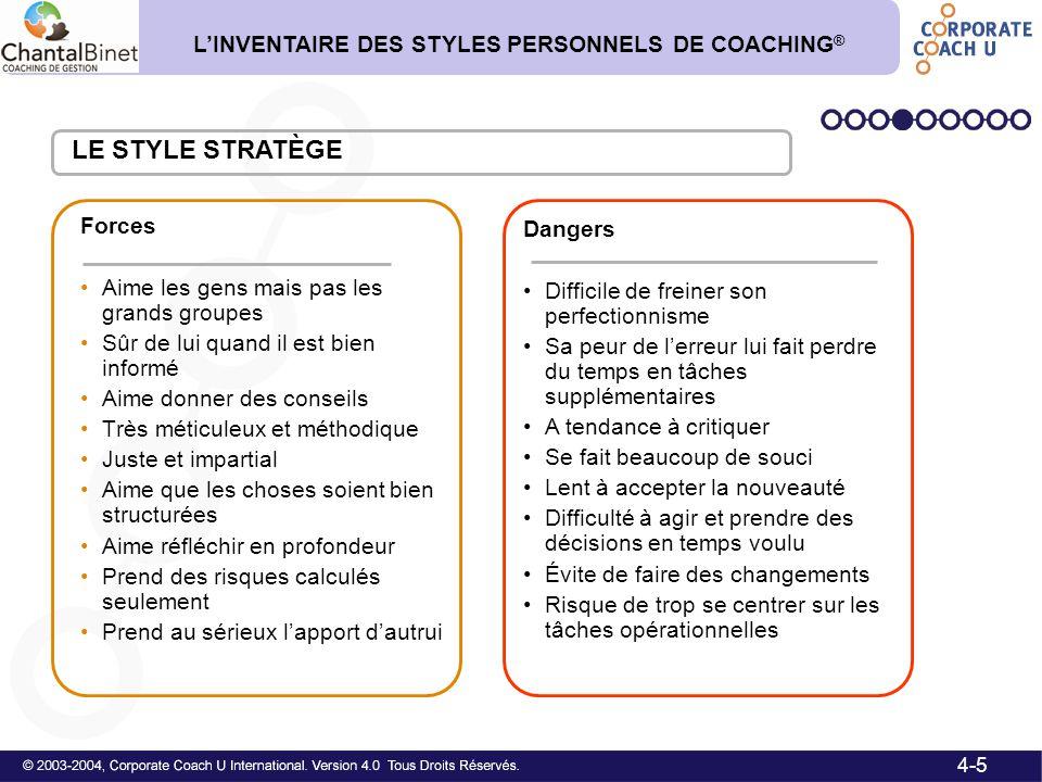 LE STYLE STRATÈGE L'INVENTAIRE DES STYLES PERSONNELS DE COACHING®