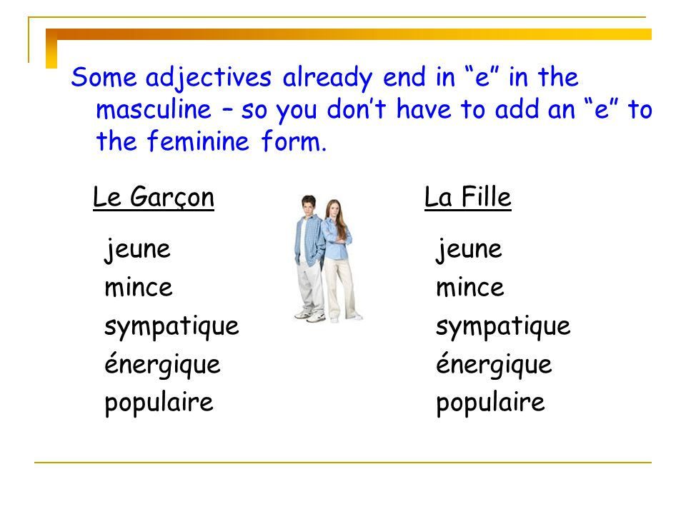 Some adjectives already end in e in the masculine – so you don't have to add an e to the feminine form.
