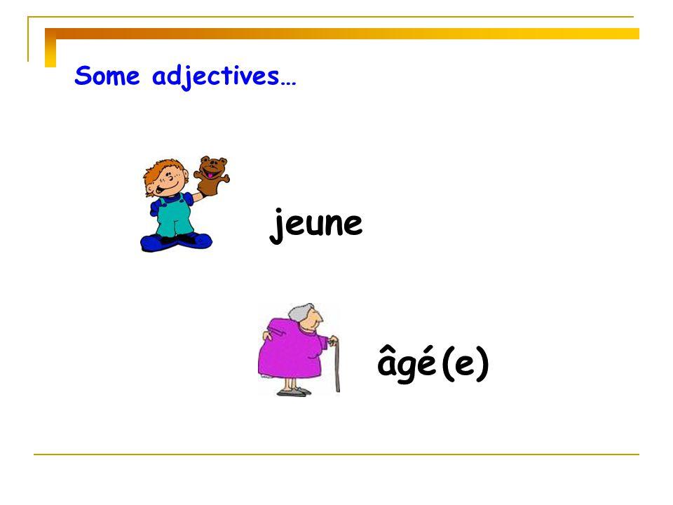Some adjectives… jeune âgé (e)