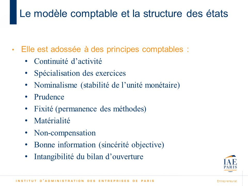 Le modèle comptable et la structure des états