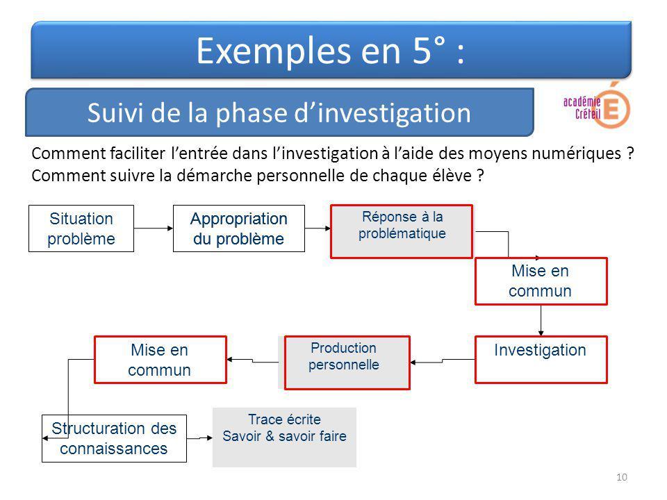 Exemples en 5° : Suivi de la phase d'investigation