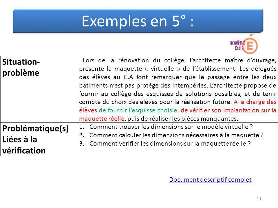 Exemples en 5° : Situation-problème Problématique(s)