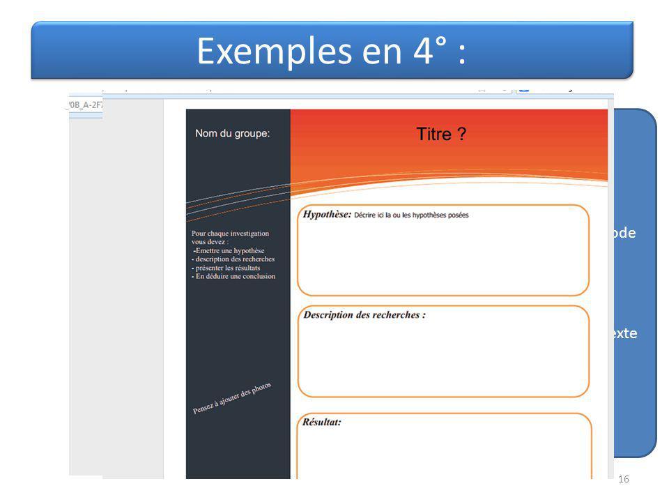 Exemples en 4° : Flash code Ou Lien hypertexte