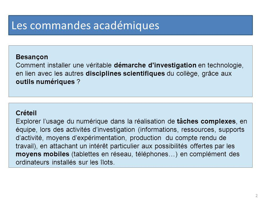 Les commandes académiques