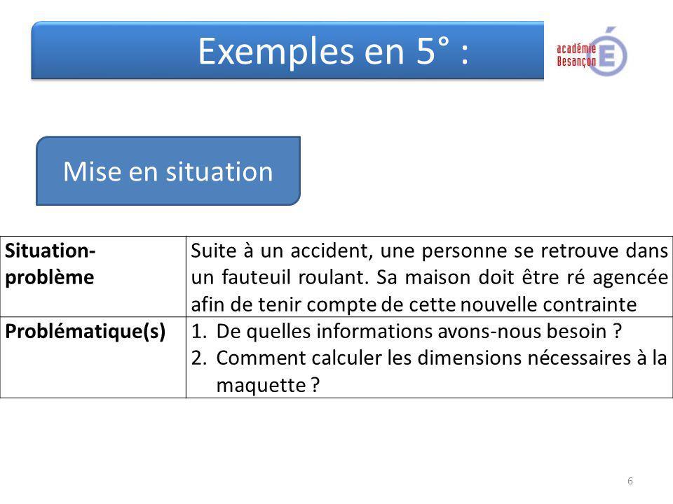 Exemples en 5° : Mise en situation Situation-problème