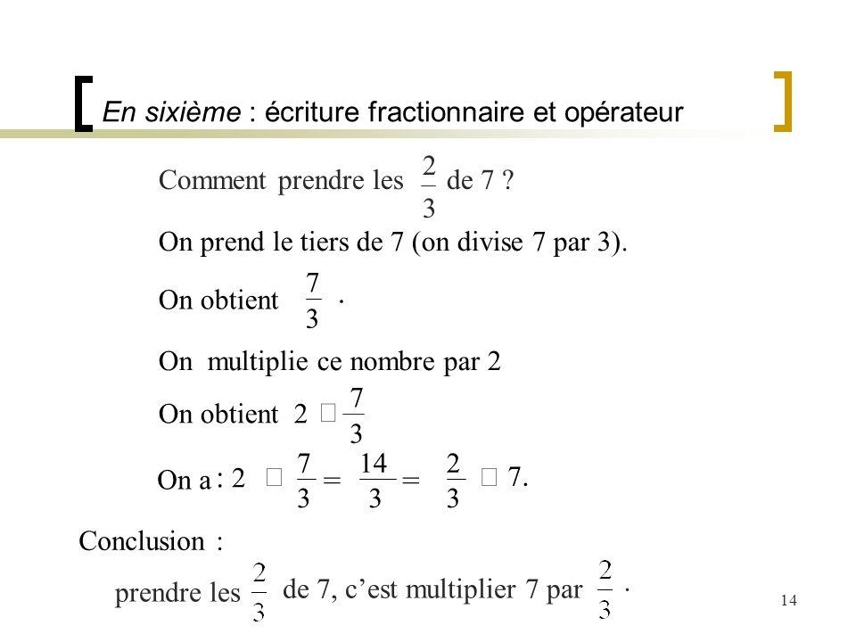 En sixième : écriture fractionnaire et opérateur