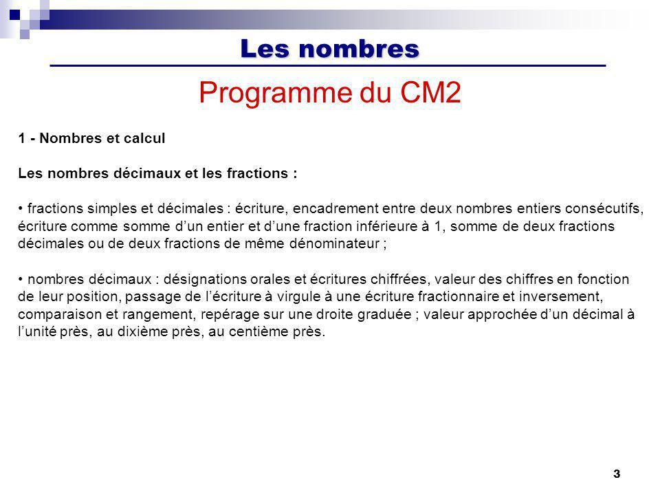 Programme du CM2 1 - Nombres et calcul
