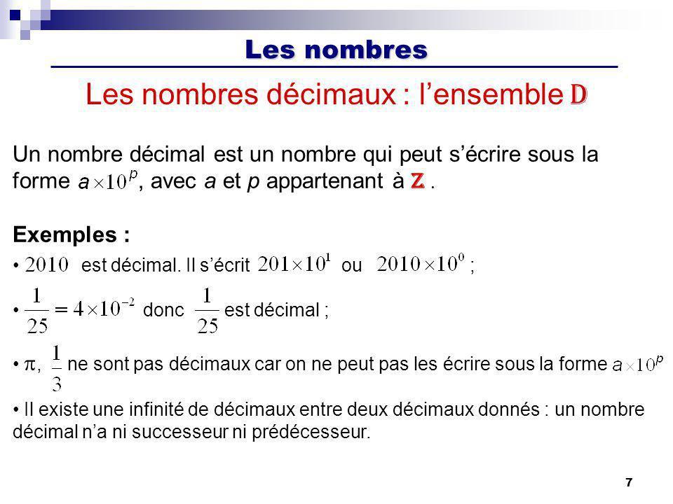 Les nombres décimaux : l'ensemble D