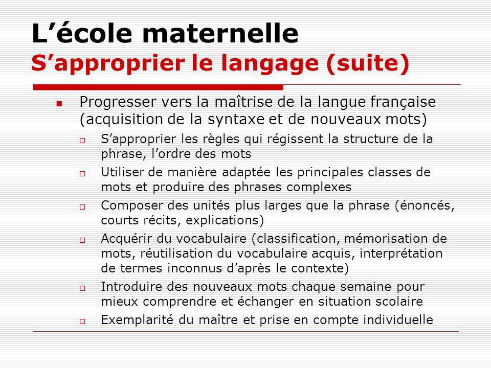 L'école maternelle S'approprier le langage (suite)