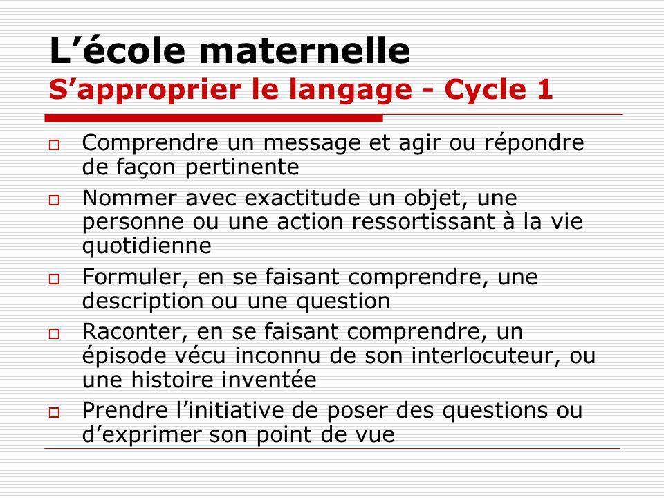 L'école maternelle S'approprier le langage - Cycle 1