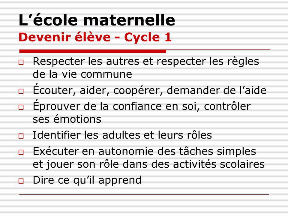 L'école maternelle Devenir élève - Cycle 1