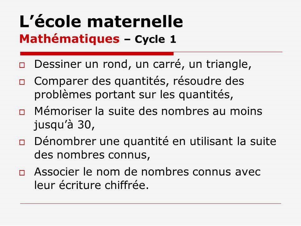 L'école maternelle Mathématiques – Cycle 1