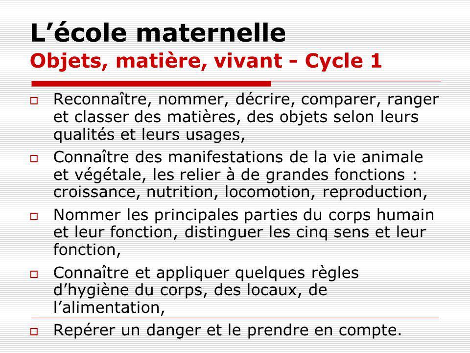 L'école maternelle Objets, matière, vivant - Cycle 1