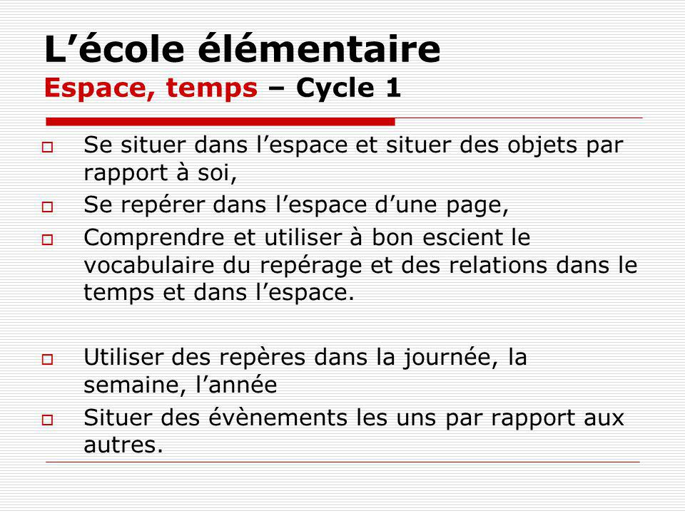 L'école élémentaire Espace, temps – Cycle 1