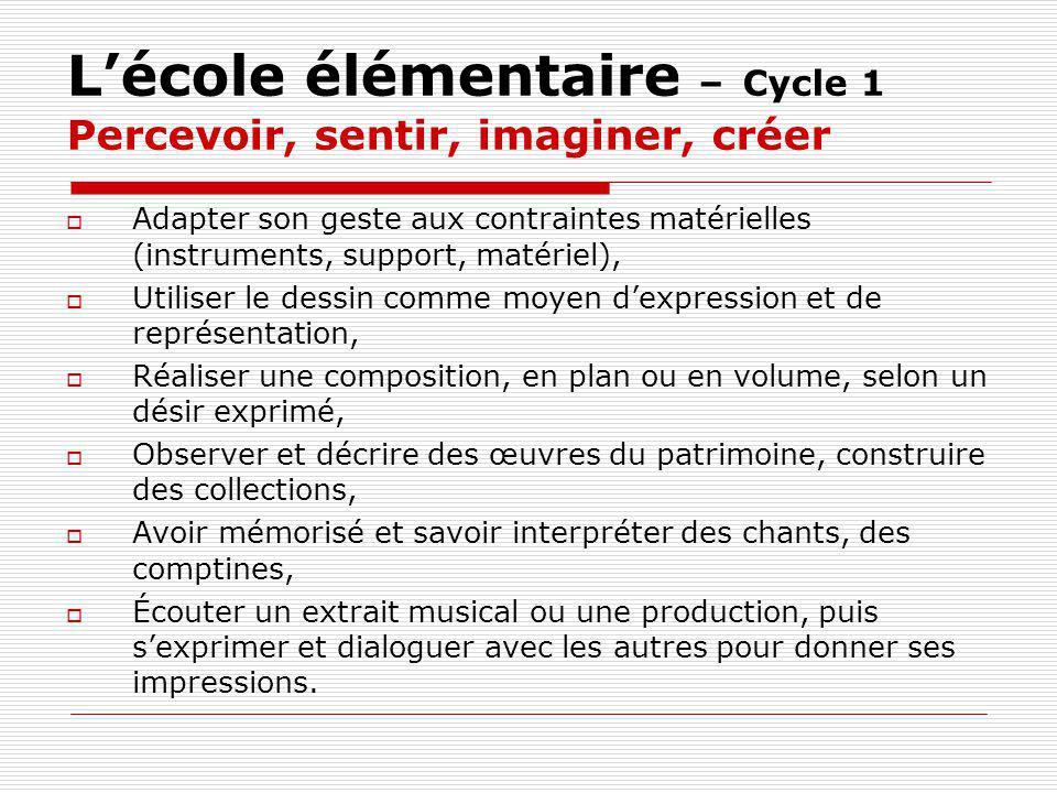 L'école élémentaire – Cycle 1 Percevoir, sentir, imaginer, créer