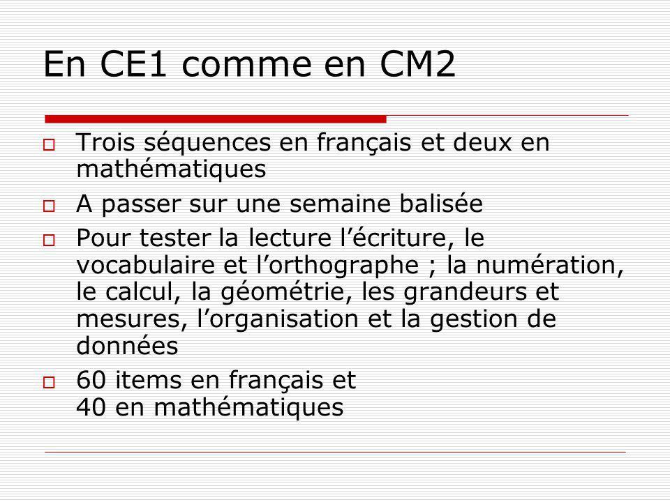 En CE1 comme en CM2 Trois séquences en français et deux en mathématiques. A passer sur une semaine balisée.
