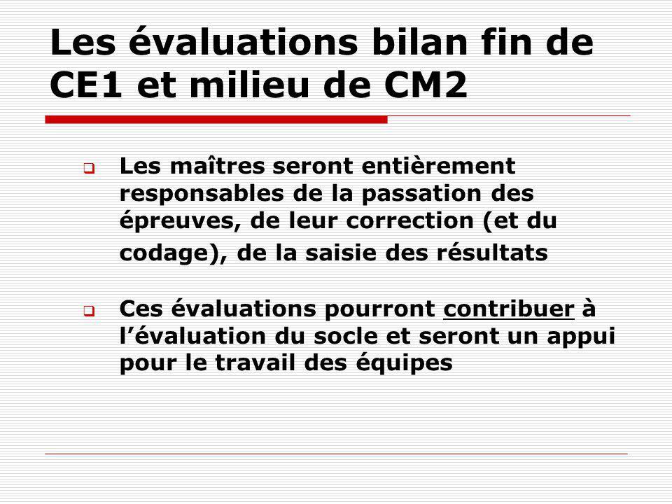 Les évaluations bilan fin de CE1 et milieu de CM2