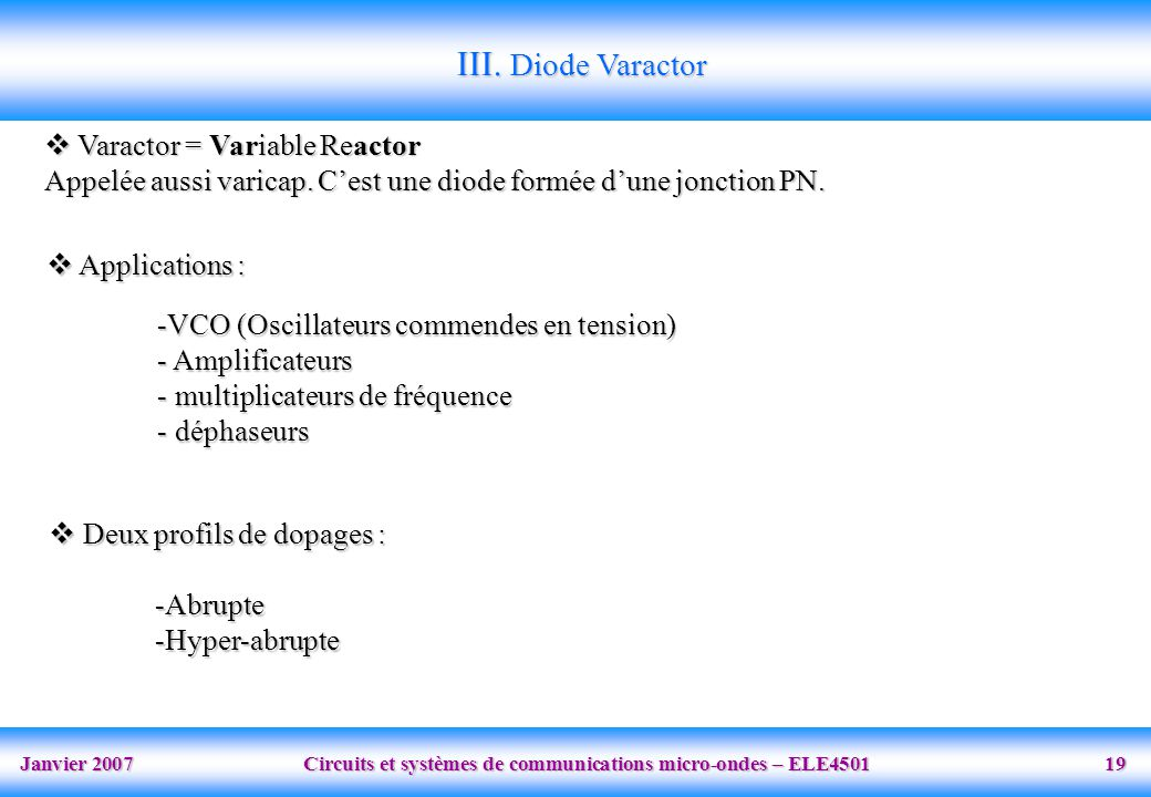 III. Diode Varactor Varactor = Variable Reactor