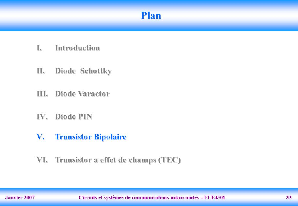 Plan Introduction Diode Schottky Diode Varactor Diode PIN