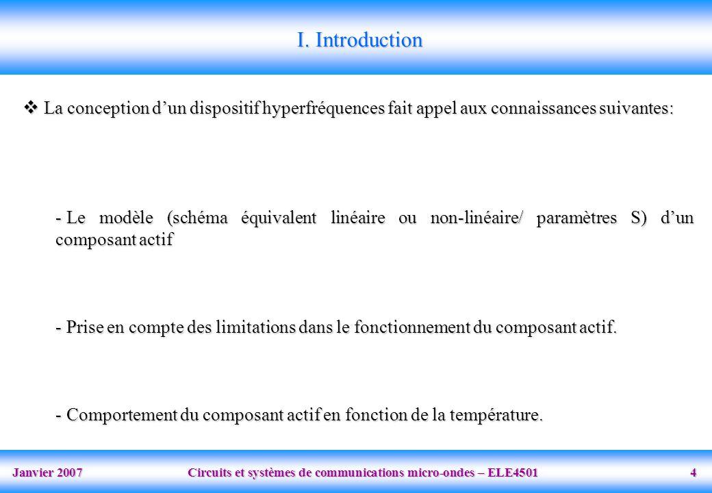 I. Introduction La conception d'un dispositif hyperfréquences fait appel aux connaissances suivantes: