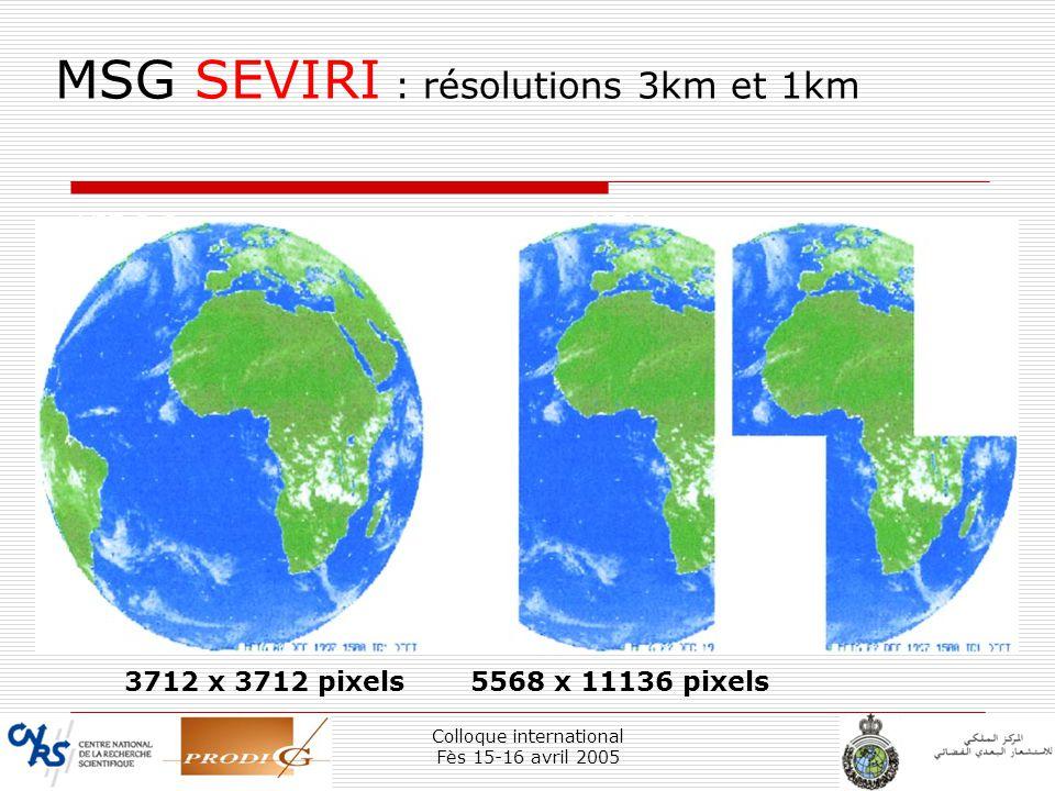 MSG SEVIRI : résolutions 3km et 1km
