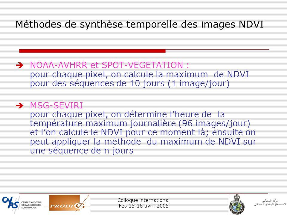 Méthodes de synthèse temporelle des images NDVI