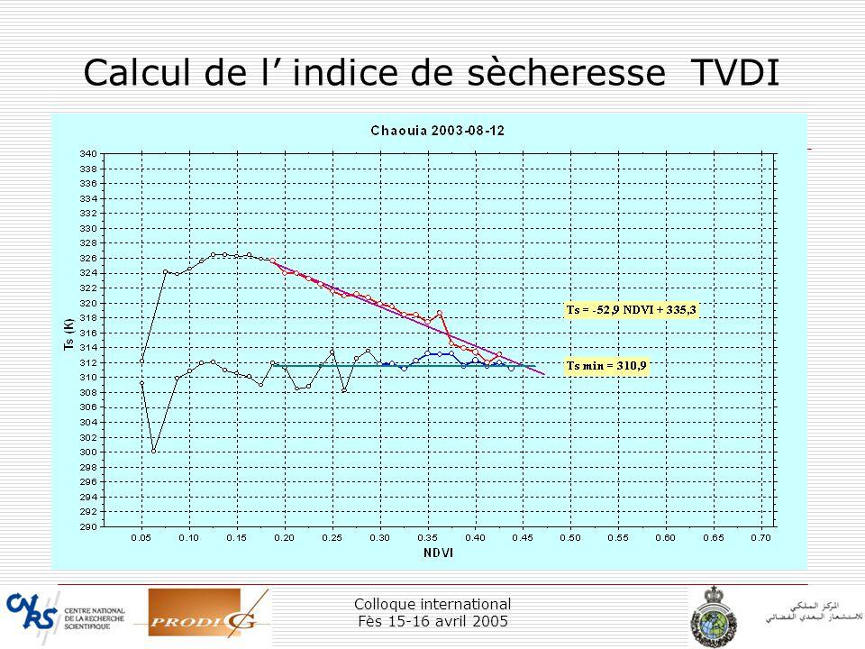 Calcul de l' indice de sècheresse TVDI