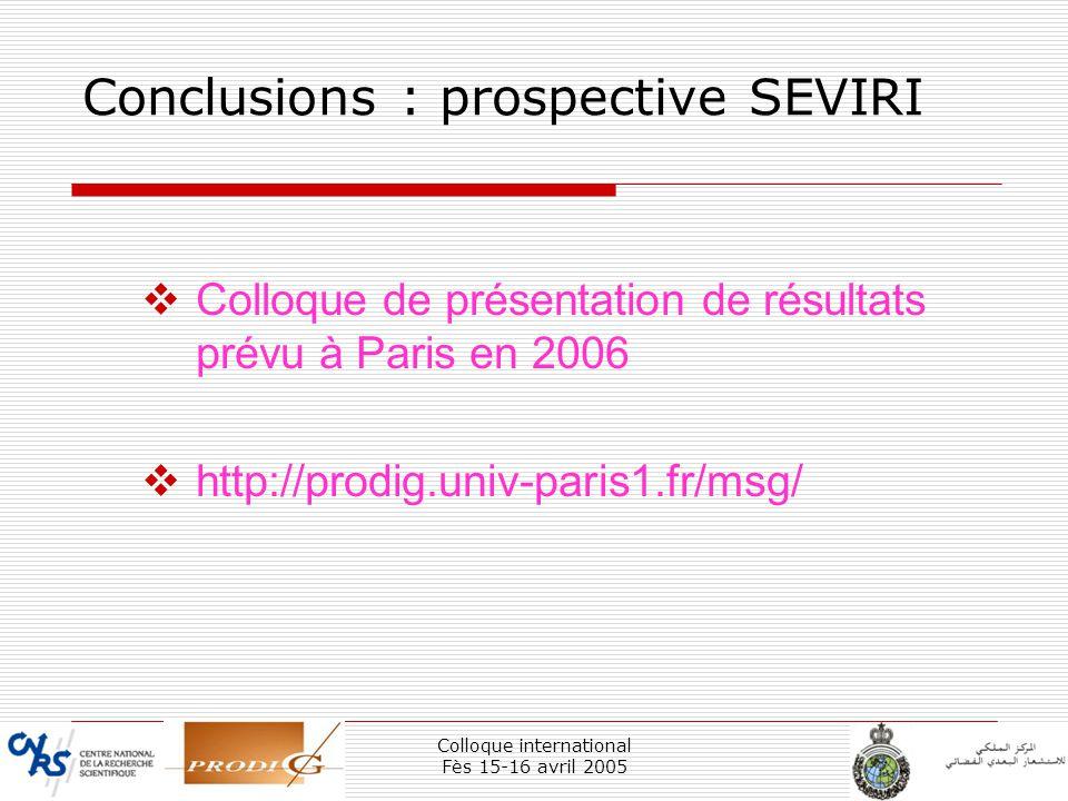 Conclusions : prospective SEVIRI