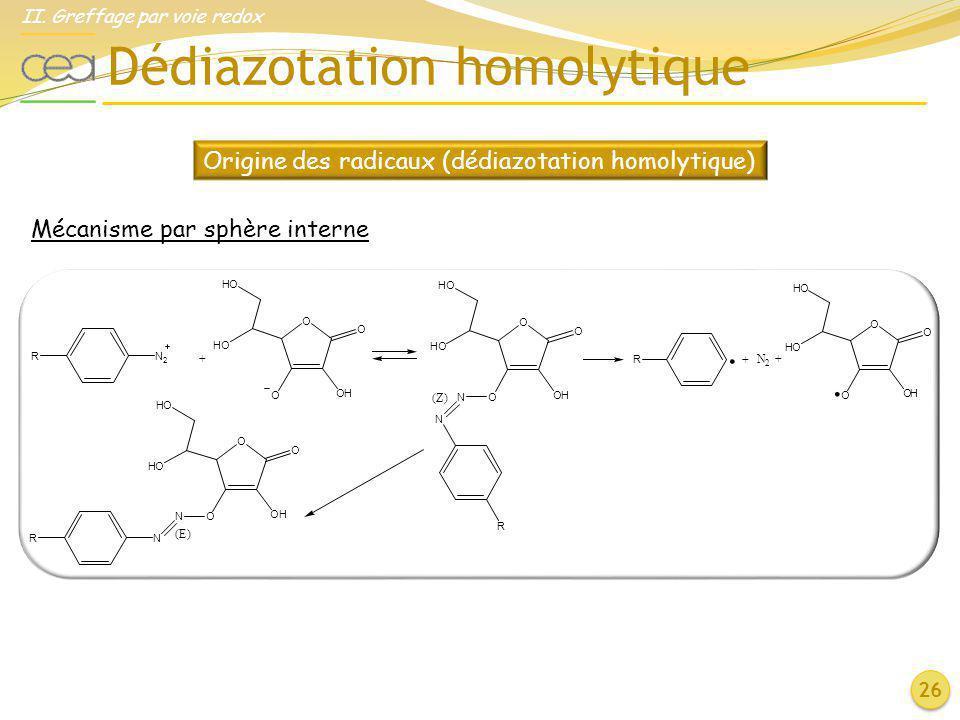 Origine des radicaux (dédiazotation homolytique)