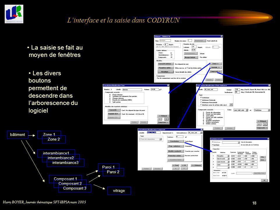 L'interface et la saisie dans CODYRUN