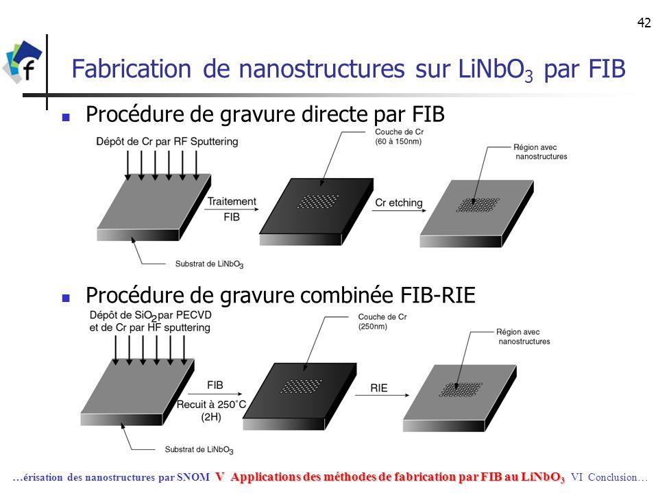 Fabrication de nanostructures sur LiNbO3 par FIB