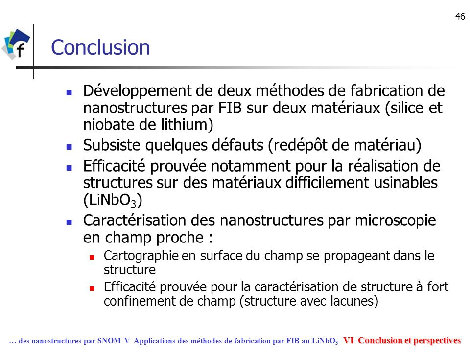 31/03/2017 Conclusion. Développement de deux méthodes de fabrication de nanostructures par FIB sur deux matériaux (silice et niobate de lithium)