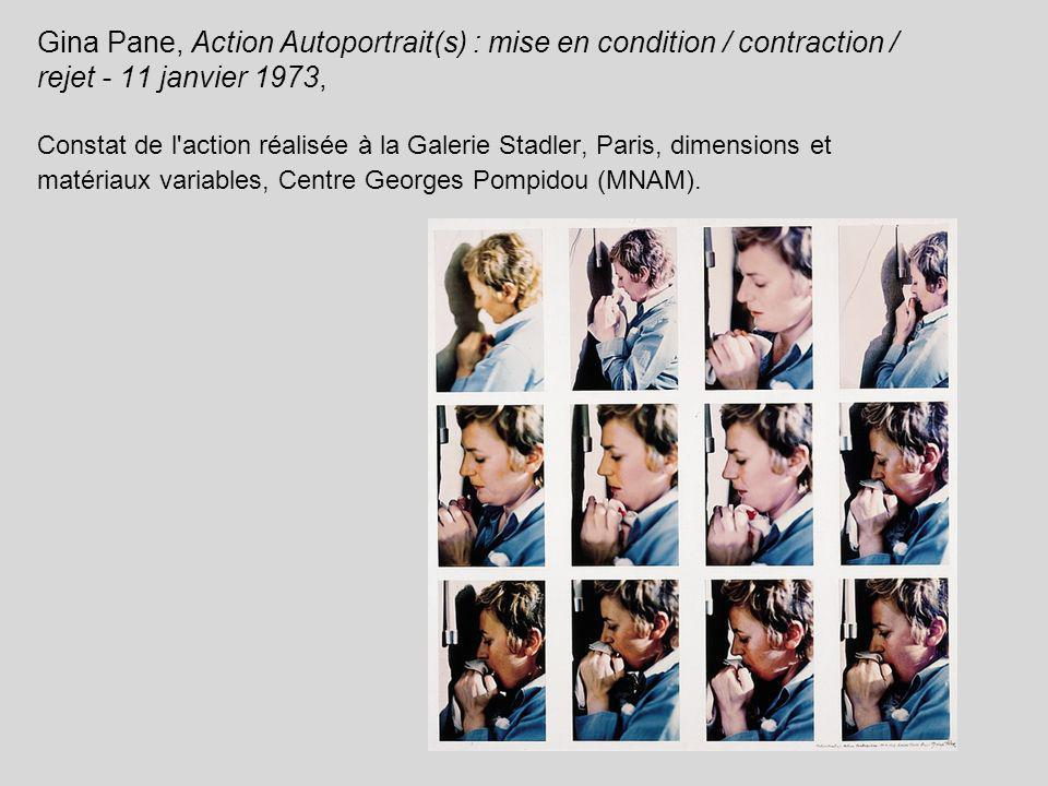 Gina Pane, Action Autoportrait(s) : mise en condition / contraction / rejet - 11 janvier 1973, Constat de l action réalisée à la Galerie Stadler, Paris, dimensions et matériaux variables, Centre Georges Pompidou (MNAM).