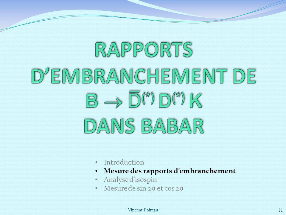 RAPPORTS d'EMBRANCHEMENT DE B  D(*) D(*) K DANS BABAR