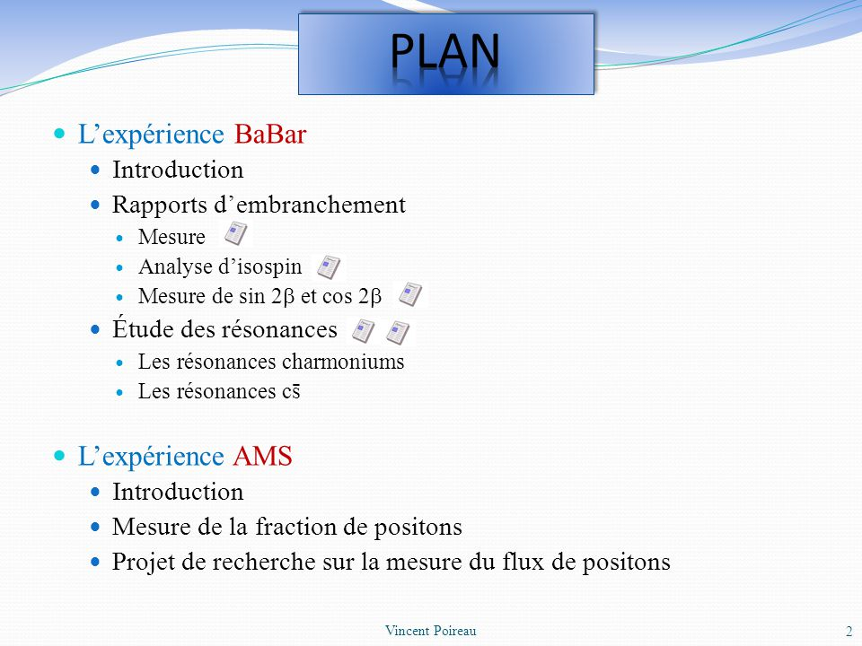 PLAN L'expérience BaBar L'expérience AMS Introduction